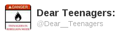 twitter: dear teenagers