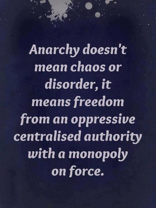 Anarchy doesn't mean chaos or disorder, it means freedom from an oppressive centralised authority with a monopoly on force
